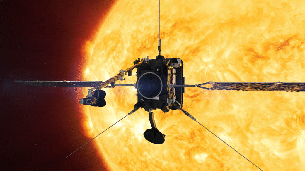 An image of Solar Orbiter peering at the Sun through peepholes in its heat shield. (ESA/ATG medialab)