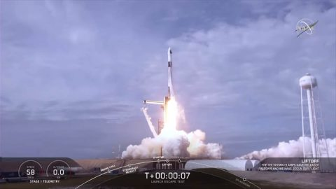 NASA and SpaceX completed a launch escape demonstration of the company's Crew Dragon spacecraft and Falcon 9 rocket on Jan. 19, 2020. The test began at 9:30am CT with liftoff from Launch Complex 39A at NASA's Kennedy Space Center in Florida on a mission to show the spacecraft's capability to safely separate from the rocket in the unlikely event of an inflight emergency. (NASA Television)