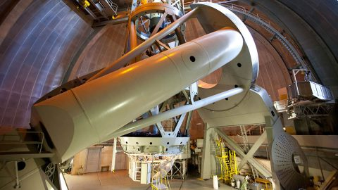 Dedicated in 1948, the 200-inch Hale Telescope was the largest effective telescope in the world until 1993. (Caltech/Palomar)