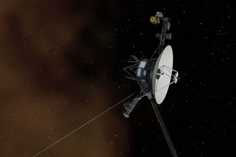 This artist's concept depicts one of NASA's Voyager spacecraft entering interstellar space, or the space between stars. Interstellar space is dominated by the plasma, or ionized gas, that was ejected by the death of nearby giant stars millions of years ago. (NASA/JPL-Caltech)