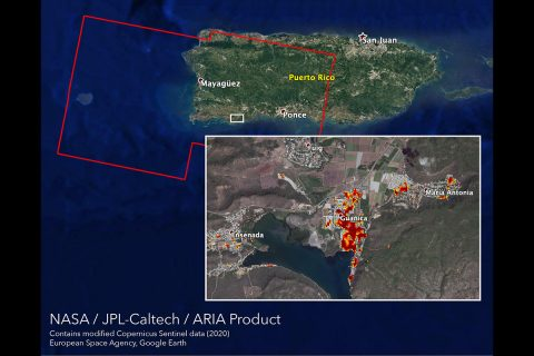 NASA's ARIA team mapped damage in southwestern Puerto Rico following a 6.4-magnitude quake and hundreds of aftershocks. Guanica, west of the city of Ponce, was particularly hard-hit. (NASA/JPL-Caltech, ESA)