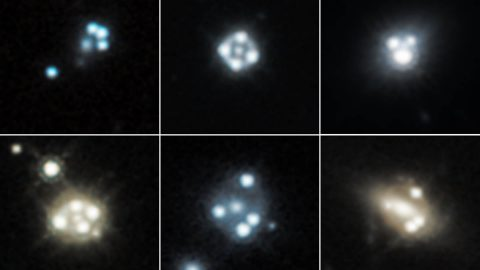 Each snapshot shows four distorted images of a background quasar (an extremely bright region in the center of some distant galaxies), surrounding the core of a massive foreground galaxy. The gravity of the foreground galaxy magnifies the quasar, an effect called gravitational lensing. (NASA, ESA, A. Nierenberg, T. Treu)