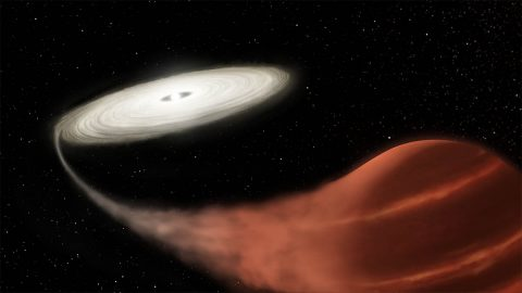 This illustration shows a newly discovered dwarf nova system, in which a white dwarf star is pulling material off a brown dwarf companion. The material collects into an accretion disk until reaching a tipping point, causing it to suddenly increase in brightness. (NASA and L. Hustak (STScI))
