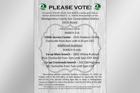 Montgomery County Soil Conservation District Board to hold Election for Three Positions