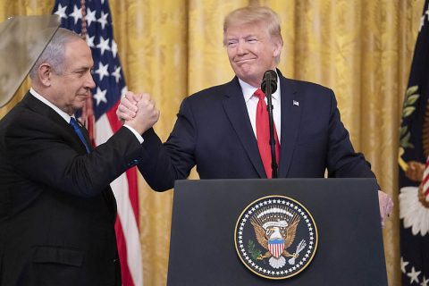 President Donald Trump joins Israeli Prime Minister Benjamin Netanyahu to unveil the Trump Administration's Middle East peace plan. (Official White House photo by Shealah Craighead)
