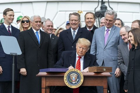 President Donald Trump signs the United States-Mexico-Canada Trade Agreement. (Official White House Photo by D. Myles Cullen)