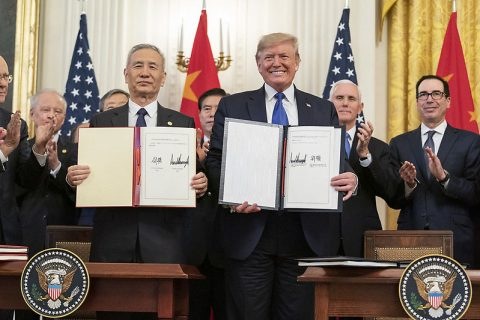 U.S. President Donald J. Trump, joined by Chinese Vice Premier Liu He, sign the U.S. China Phase One Trade Agreement. (Official White House Photo by Shealah Craighead)