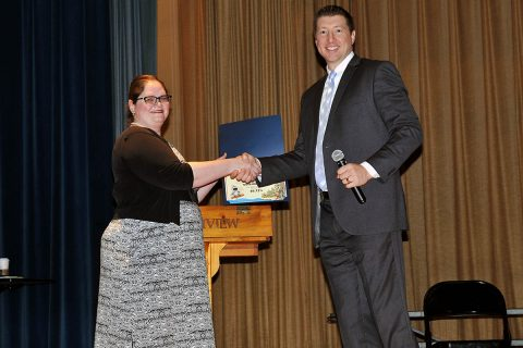 Richview Middle School's Heather Stanley receives the FBI's National Safe Online Surfing Award.