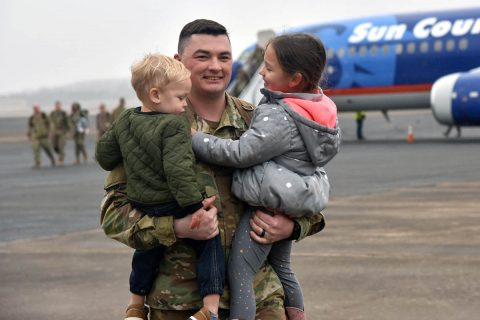 On Thursday, January 23rd, 2020 Members of the 278th Armored Cavalry Regiment reunite with families at Volunteer Training Site – Smyrna, following a 9-month deployment to Poland. This final wave of Soldiers represents the regiment's completion of NATO's enhanced Forward Presence (eFP) mission after 18 months by two separate squadrons. (U.S. Army photo by Staff Sgt. Tim Cordeiro)
