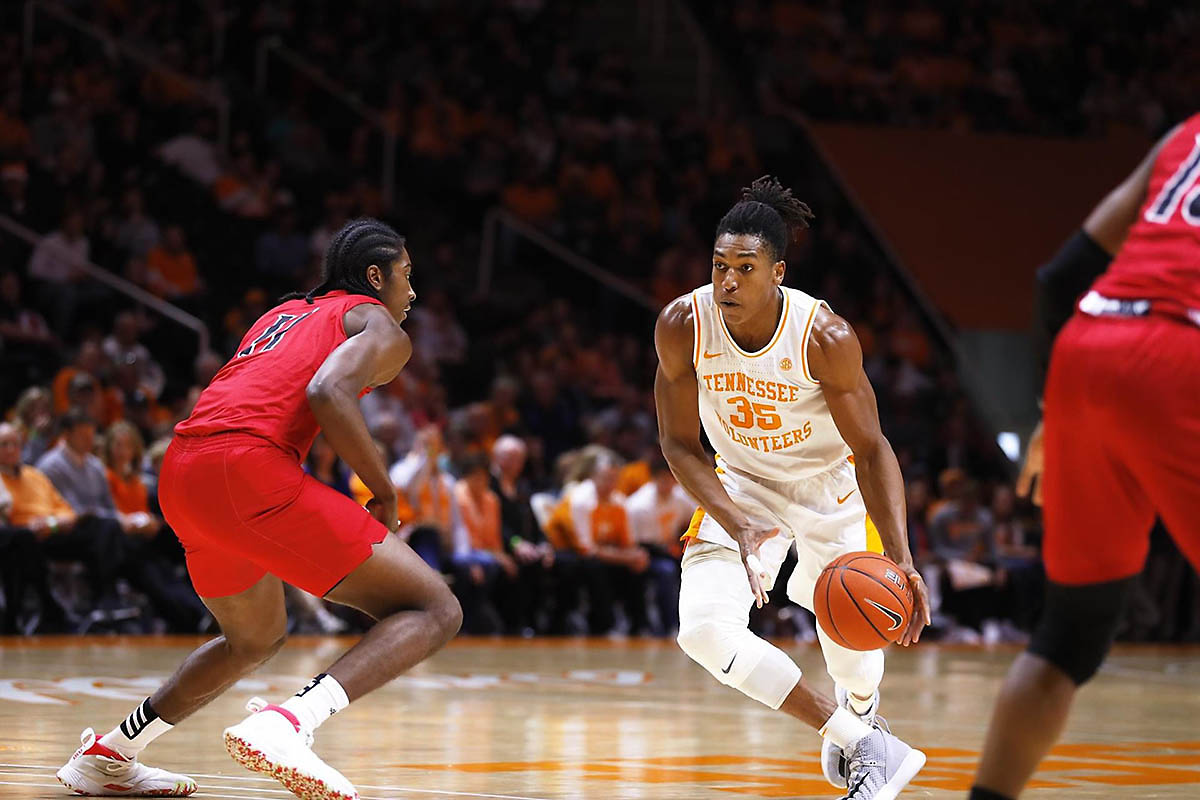 Tennessee Men's Basketball junior Yves Pons scored 18 points in loss to LSU at Thompson-Boling Arena, Saturday. (UT Athletics)
