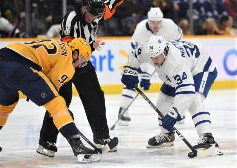 Nashville Predators' Ryan Johansen squares off against Austin Mathews of the Maple Leafs during Toronto's 5-2 win at the Bridgestone Arena. (Michael Strasinger)