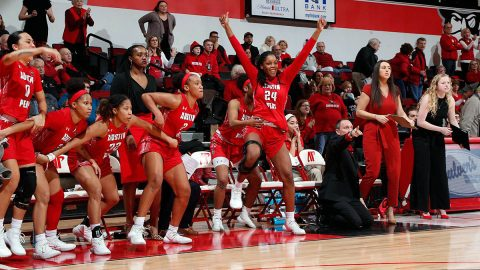 Austin Peay State University Women's Basketball downs Murray State 69-61 at the Dunn Center, Thursday. (APSU Sports Information)