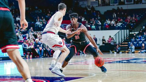 Austin Peay State University junior Terry Taylor scores 26 points and pulls down 23 rebounds against Belmont Saturday night. (APSU Sports Information)