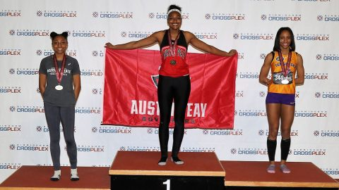 Austin Peay State University Track and Field senior Maya Perry-Grimes won the gold in the long jump at the 2020 OVC Championship. (APSU Sports Information)