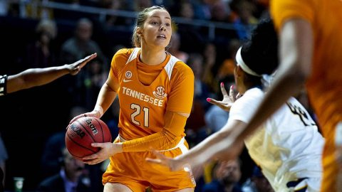 Tennessee Women's Basketball forward #21 Lou Brown had 9 points in loss to LSU, Thursday night. (UT Athletics)