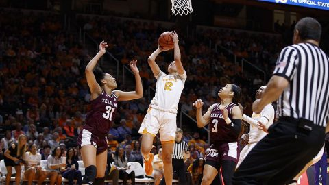 Tennessee Women's Basketball sophomore #12 Rae Burrell had 19 points and 7 rebounds in loss to Texas A&M, Sunday. (UT Athletics)