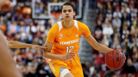 Tennessee Women's Basketball sophomore #12 Rae Burrell knocked down 21 points and pulled down 9 boards against #22/#25 Arkansas, Thursday night. (UT Athletics)