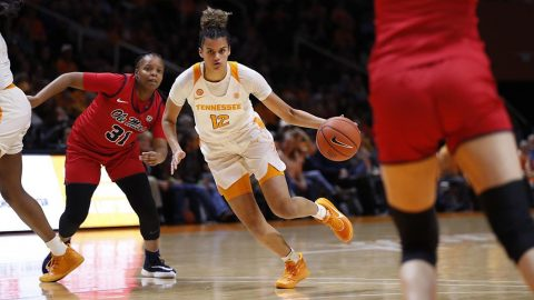 Tennessee Women's Basketball sophomore #12 Rae Burrell had 14 points and 4 rebounds in win over Ole Miss Thursday night. (UT Athletics)