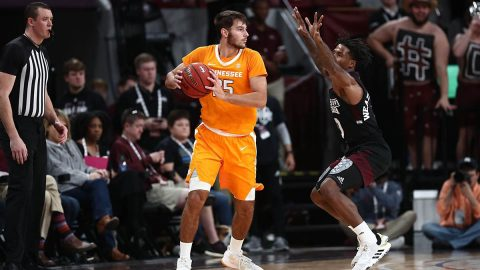 Tennessee Men's Basketball freshman #25 Santiago Vescovi had 16 points and 4 rebounds in loss to Mississippi State, Saturday. (UT Athletics)