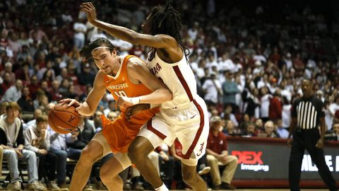 Tennessee Men's Basketball junior John Fulkerson has 22 points and 3 rebounds in Vols come back win at Alabama, Tuesday night. (UT Athletics)