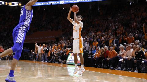 Tennessee Men's Basketball freshman #25 Santiago Vescovi had 18 points in loss to Kentucky, Saturday. (UT Athletics)