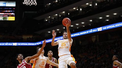Tennessee Men's Basketball freshman #25 Santiago Vescovi had 20 points and 8 assists in win over Arkansas at Thompson-Boling Arena, Tuesday night. (UT Athletics)