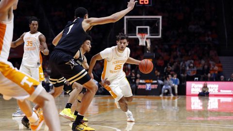 Tennessee Men's Basketball freshman #25 Santiago Vescovi had 25 points in Vols win over Vanderbilt, Tuesday night. (UT Athletics)