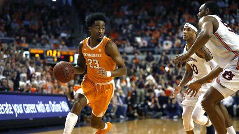 Tennessee Men's Basketball senior #23 Jordan Bowden scores 28 points against Auburn, Saturday. (UT Athletics)