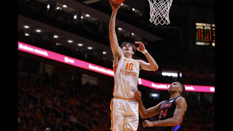 Tennessee Men's Basketball junior #10 John Fulkerson had 22 points in victory over Florida, Saturday. (UT Athletics)