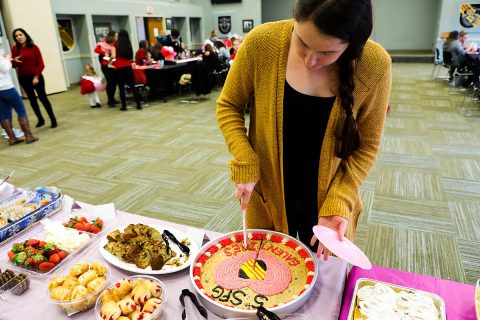 """Soldiers and Spouses from the 5th Special Forces Group (Airborne) hold a potluck to celebrate """"Galentine's Day,"""" a day of appreciation for women ahead of Valentine's Day. (U.S. Army Photo by Daniel Mariscal, 5th SFG(A) Public Affairs)"""
