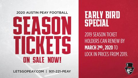 2020 Austin Peay State University Football Season Tickets on Sale Now. (APSU Sports Information)