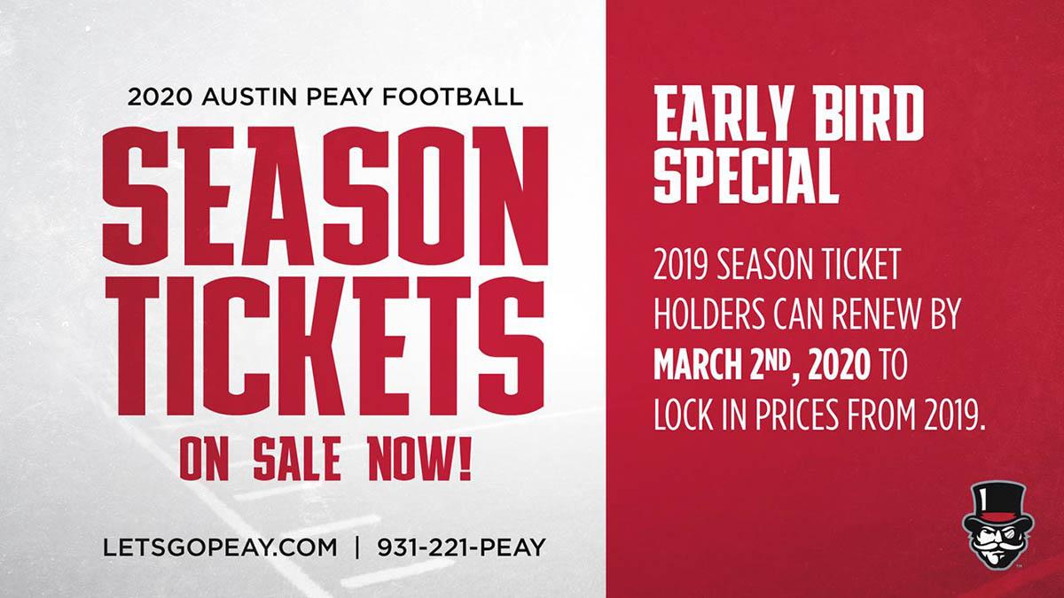 2020 Austin Peay State University Football Season Tickets on Sale Now. (APSU Sports Information)