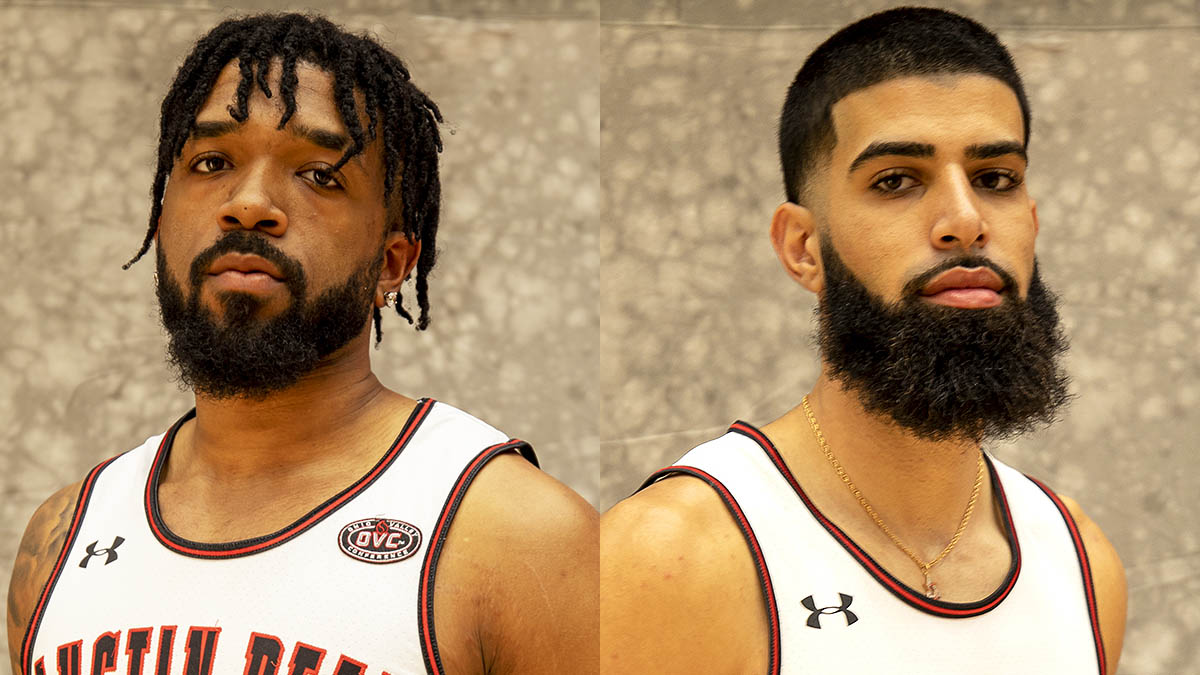 Austin Peay State University Men's Basketball players (L to R) Jordyn Adams and Eli Abaev. (APSU Sports Information)