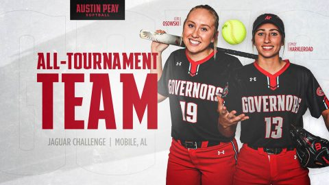 Austin Peay State University Softball players Emily Harkleroad, Lexi Osowski named to Jaguar Challenge All-Tournament Team. (APSU Sports Information)
