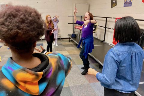 Kennedy Center Teaching Artist Cissy Whipp helps students at West Creek Middle School with their choreography. (APSU)