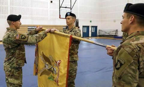 Lt. Col. Eric Anderson (right), commander of the 129th Division Sustainment Support Battalion, 101st Airborne Division (Air Assault) Sustainment Brigade and Command Sgt. Maj. Jesse Oudenhaven (left), 129th Div. Sust. Support Battalion senior enlisted advisor, uncase their battalion colors during a ceremony at Fort Campbell, Jan. 30. (Sgt. Aimee Nordin, 101st Airborne Division (AA) Sustainment Brigade Public Affairs)