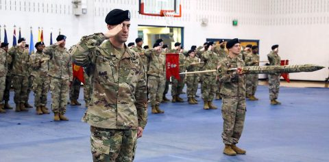 Soldiers of 129th Division Sustainment Support Battalion, 101st Airborne Division (Air Assault) Sustainment Brigade, render honors during the battalion's colors uncasing ceremony, Jan. 30, at Fort Campbell. (Sgt. Aimee Nordin, 101st Airborne Division (AA) Sustainment Brigade Public Affairs)