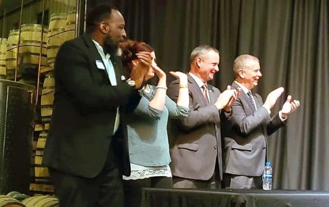 Ward 2 Councilman Vondell Richmond joins Shawney Bledsoe, Clarksville Mayor Joe Pitts and Montgomery County Mayor Jim Durrett to cheer honorees at an entrepreneurial 'Mingle' event February 4th.