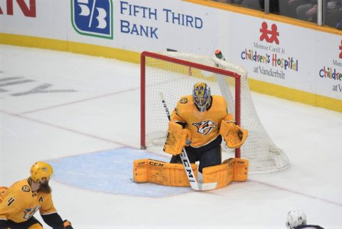 Nashville Predators netminder Juuse Saros stopped 36 shots on goal to help the Predators take the over-time victory over the Calgary Flames, 4-3. (Michael Strasinger)