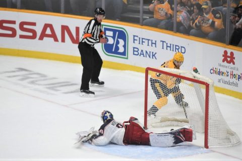 Rocco Grimaldi scores the game winner for the Nashville Predators in the 8th round of their shoot-out victory over the Columbus Blue Jackets.  (Michael Strasinger)