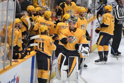 Nashville Predators defeat the Calgary Flames, 3-2.  (Michael Strasinger)