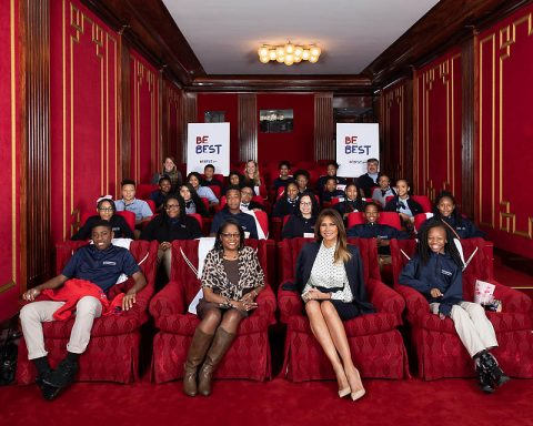 First Lady Melania Trump joins faculty members and students from Cornerstone Schools of Washington, D.C., in the White House Family Theater. (White House)