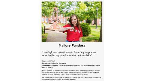 A screen capture of Austin Peay State University's silver medal-winning GovLife profile of Mallory Fundora. (APSU)