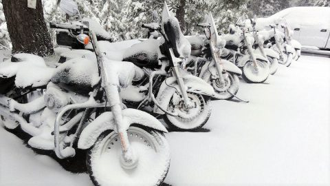 Motorcycles covered in Snow.