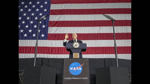 Vice President Mike Pence speaks to employees during his visit to NASA's Langley Research Center Wednesday. (NASA/David C. Bowman)