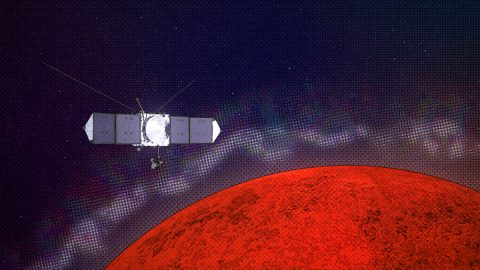 Graphic illustrating the MAVEN spacecraft encountering plasma layers at Mars. (NASA Goddard/CI lab)