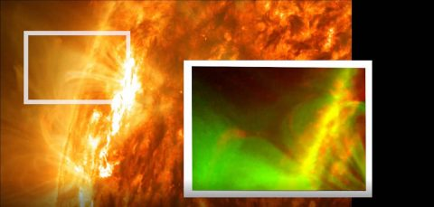Forced magnetic reconnection, caused by a prominence from the Sun, was seen for the first time in images from NASA's Solar Dynamics Observatory, or SDO. This image shows the Sun on May 3, 2012, with the inset showing a close-up of the reconnection event imaged by SDO's Atmospheric Imaging Assembly instrument, where the signature X-shape is visible. (NASA/SDO/Abhishek Srivastava/IIT(BHU))