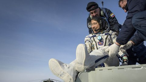 NASA astronaut Christina Koch is helped out of the Soyuz MS-13 spacecraft just minutes after she, Roscosmos cosmonaut Alexander Skvortsov, and ESA astronaut Luca Parmitano, landed their Soyuz MS-13 capsule in a remote area near the town of Zhezkazgan, Kazakhstan on Thursday, Feb. 6, 2020. (NASA/Bill Ingalls)