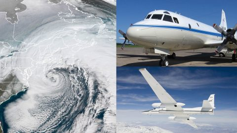 NASA's P-3 and ER-2 research planes are studying East Coast snowstorms January 17th-March 1st, 2020. (NASA)