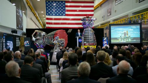 NASA Administrator Jim Bridenstine delivers the State of NASA address from NASA's Stennis Space Center in Mississippi on Feb. 10, 2020. (NASA)